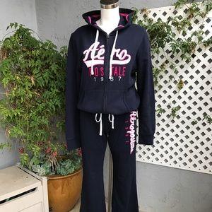 Women's Blue Pink Full Zip Hoodie XL Pants Lg Fit